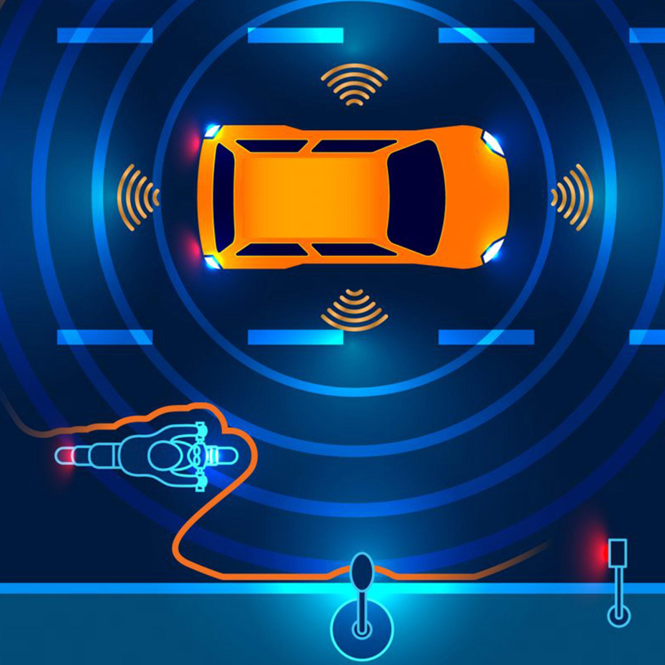 disegno vettoriale di un auto a guida intelligente